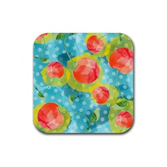 Red Cherries Rubber Coaster (square)  by DanaeStudio
