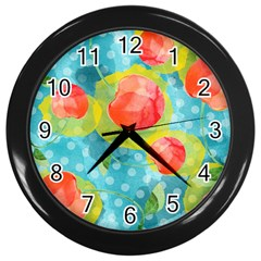 Red Cherries Wall Clocks (black) by DanaeStudio
