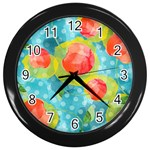 Red Cherries Wall Clocks (Black) Front