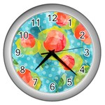 Red Cherries Wall Clocks (Silver)  Front