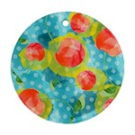 Red Cherries Round Ornament (Two Sides)  Back
