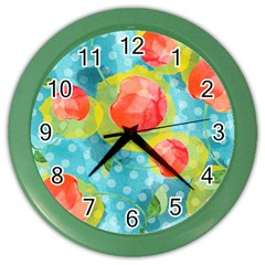 Red Cherries Color Wall Clocks by DanaeStudio