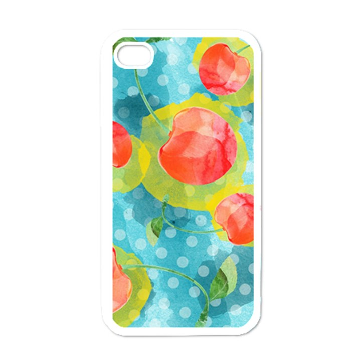 Red Cherries Apple iPhone 4 Case (White)