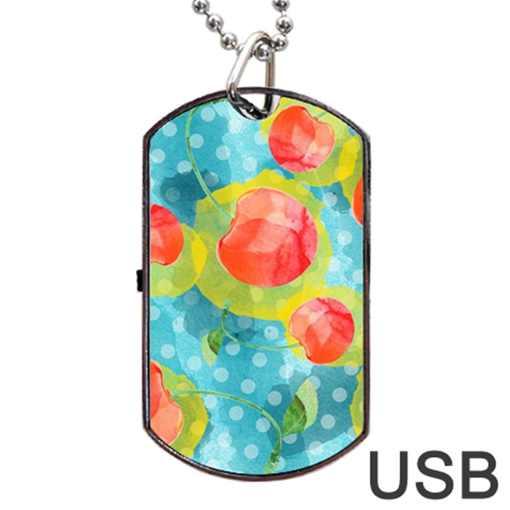 Red Cherries Dog Tag USB Flash (Two Sides)