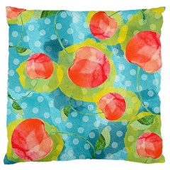 Red Cherries Large Flano Cushion Case (one Side) by DanaeStudio