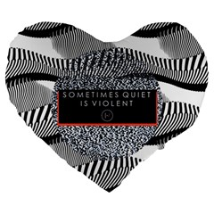 Sometimes Quiet Is Violent Twenty One Pilots The Meaning Of Blurryface Album Large 19  Premium Flano Heart Shape Cushions by Onesevenart