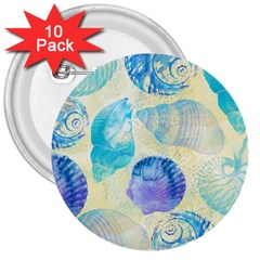 Seashells 3  Buttons (10 pack)