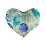 Seashells Standard 16  Premium Heart Shape Cushions Front