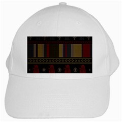 Tardis Doctor Who Ugly Holiday White Cap by Onesevenart