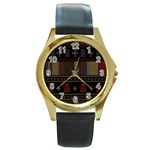 Tardis Doctor Who Ugly Holiday Round Gold Metal Watch