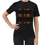 Tardis Doctor Who Ugly Holiday Women s T-Shirt (Black) (Two Sided)