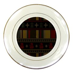 Tardis Doctor Who Ugly Holiday Porcelain Plates by Onesevenart