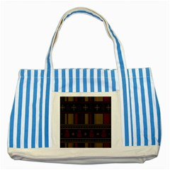 Tardis Doctor Who Ugly Holiday Striped Blue Tote Bag by Onesevenart