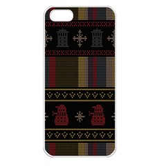 Tardis Doctor Who Ugly Holiday Apple Iphone 5 Seamless Case (white) by Onesevenart