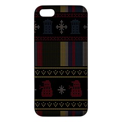 Tardis Doctor Who Ugly Holiday Apple Iphone 5 Premium Hardshell Case by Onesevenart