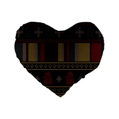 Tardis Doctor Who Ugly Holiday Standard 16  Premium Flano Heart Shape Cushions by Onesevenart