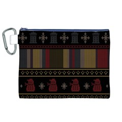 Tardis Doctor Who Ugly Holiday Canvas Cosmetic Bag (xl) by Onesevenart