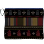 Tardis Doctor Who Ugly Holiday Canvas Cosmetic Bag (XXXL)