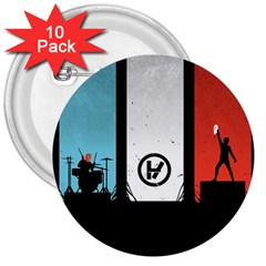 Twenty One 21 Pilots 3  Buttons (10 Pack)  by Onesevenart