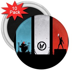 Twenty One 21 Pilots 3  Magnets (10 Pack)  by Onesevenart