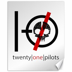 Twenty One Pilots Skull Canvas 11  X 14   by Onesevenart