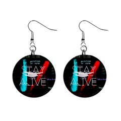 Twenty One Pilots Stay Alive Song Lyrics Quotes Mini Button Earrings by Onesevenart