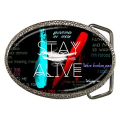 Twenty One Pilots Stay Alive Song Lyrics Quotes Belt Buckles by Onesevenart