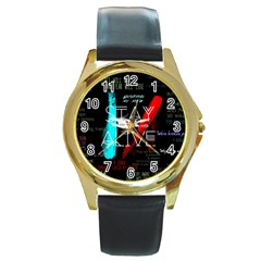 Twenty One Pilots Stay Alive Song Lyrics Quotes Round Gold Metal Watch by Onesevenart