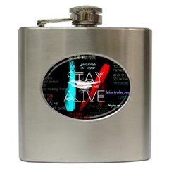 Twenty One Pilots Stay Alive Song Lyrics Quotes Hip Flask (6 Oz) by Onesevenart