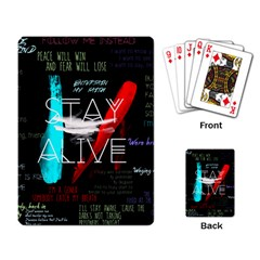 Twenty One Pilots Stay Alive Song Lyrics Quotes Playing Card by Onesevenart