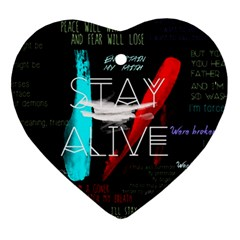 Twenty One Pilots Stay Alive Song Lyrics Quotes Heart Ornament (2 Sides) by Onesevenart