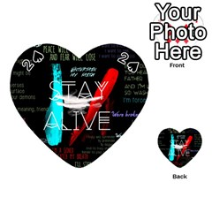 Twenty One Pilots Stay Alive Song Lyrics Quotes Playing Cards 54 (heart)  by Onesevenart