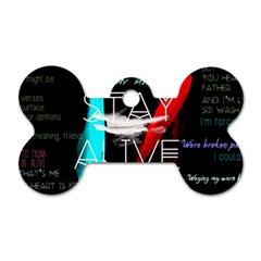 Twenty One Pilots Stay Alive Song Lyrics Quotes Dog Tag Bone (one Side) by Onesevenart