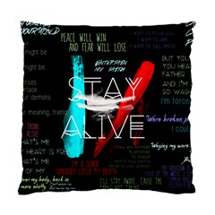 Twenty One Pilots Stay Alive Song Lyrics Quotes Standard Cushion Case (two Sides) by Onesevenart