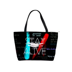 Twenty One Pilots Stay Alive Song Lyrics Quotes Shoulder Handbags by Onesevenart