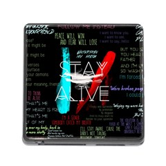Twenty One Pilots Stay Alive Song Lyrics Quotes Memory Card Reader (square) by Onesevenart
