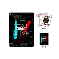 Twenty One Pilots Stay Alive Song Lyrics Quotes Playing Cards (mini)  by Onesevenart
