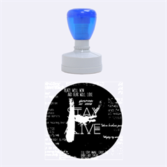 Twenty One Pilots Stay Alive Song Lyrics Quotes Rubber Round Stamps (medium) by Onesevenart