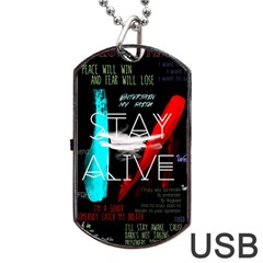 Twenty One Pilots Stay Alive Song Lyrics Quotes Dog Tag Usb Flash (one Side) by Onesevenart