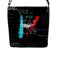 Twenty One Pilots Stay Alive Song Lyrics Quotes Flap Messenger Bag (l)  by Onesevenart