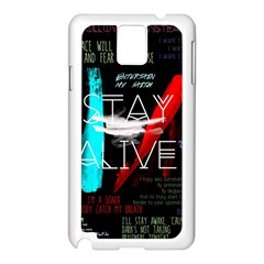 Twenty One Pilots Stay Alive Song Lyrics Quotes Samsung Galaxy Note 3 N9005 Case (white) by Onesevenart