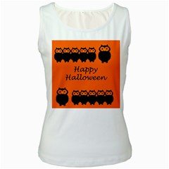 Happy Halloween - owls Women s White Tank Top
