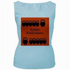 Happy Halloween   Owls Women s Baby Blue Tank Top