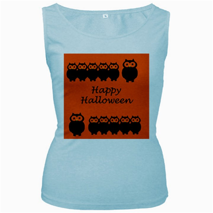Happy Halloween - owls Women s Baby Blue Tank Top