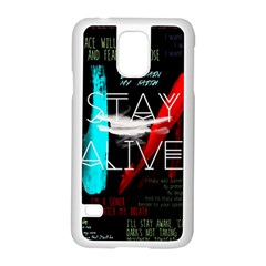 Twenty One Pilots Stay Alive Song Lyrics Quotes Samsung Galaxy S5 Case (white) by Onesevenart