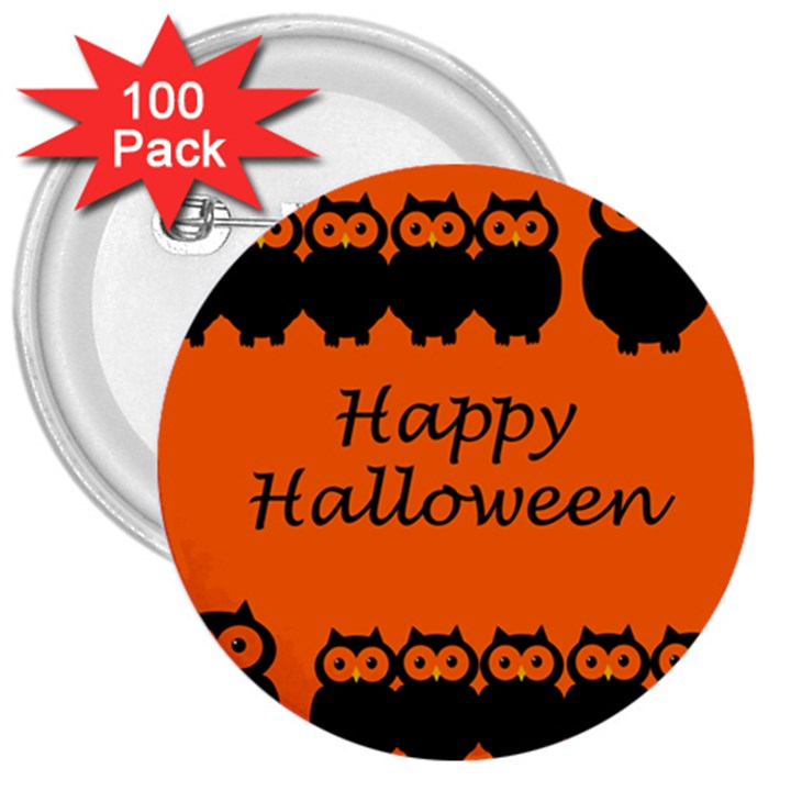Happy Halloween - owls 3  Buttons (100 pack)