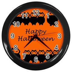 Happy Halloween   Owls Wall Clocks (black) by Valentinaart