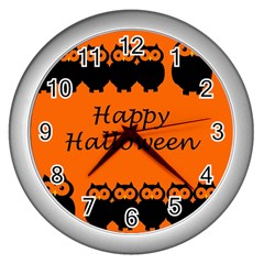 Happy Halloween   Owls Wall Clocks (silver)  by Valentinaart