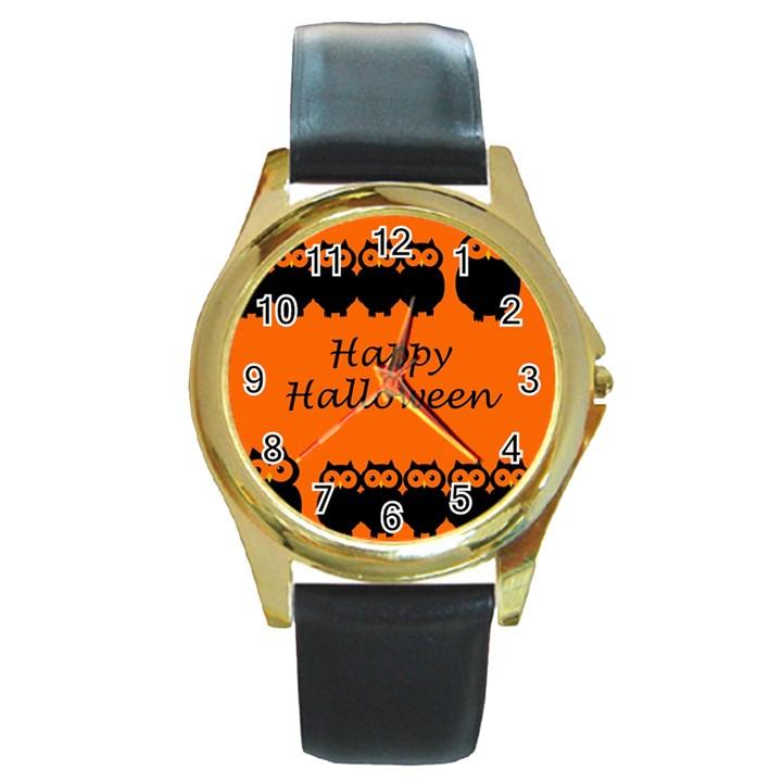 Happy Halloween - owls Round Gold Metal Watch