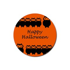 Happy Halloween   Owls Rubber Round Coaster (4 Pack)